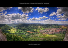 Light and Shadow - Castle Hohenneuffen, Germany (HDR Panorama) (farbspiel) Tags: geo:lat=4855549921 geo:lon=939203382 geotagged germany neuffen badenwrttemberg deu d90 nikon wideangle sigma1020mmf35exdchsm ultrawideangle superwideangle 10mm monopod topazsoftware topazadjust topazdenoise topazphotoshopbundle photomatix photoshop postprocessing hdr dri highdynamicrange tonemapping dynamicrangeincrease tonemapped detailenhancer digitalblending blend blended landscape landschaft colors colorful colour colours colourful farben farbenpracht clouds cloudy bluesky sunshine niceweather wolken wolkig blauerhimmel sonnenschein schneswetter panorama stitched stitching photomerge klausherrmann photography castlehohenneuffen burgruinehohenneuffen hohenneuffen light shadow castle burg burgruine green blue