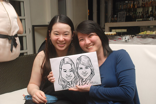 caricature live sketching for David & Christine wedding dinner - 23