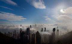 CITY OF FOG (xavibarca) Tags: sun fog skyline buildings hongkong shift icc ifc bankofchina canontse17 xavibarca