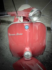 Pinhole Vespa (knightbefore_99) Tags: street car vancouver rouge italian day vespa transport free scooter pinhole commercialdrive eastvan thedrive