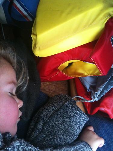 Sleeping aboard.