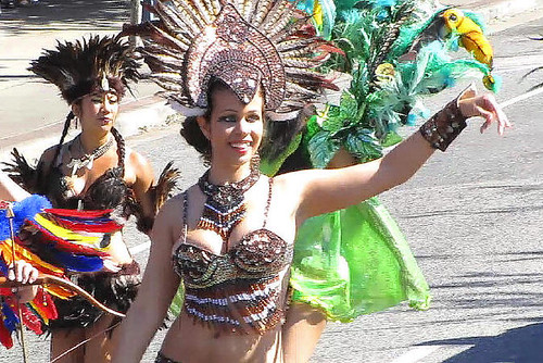 Girl wave at parade, Caribbean Days Festival 2010 African, Trinidad & Tobago, Jamaica and West Indies Celebration