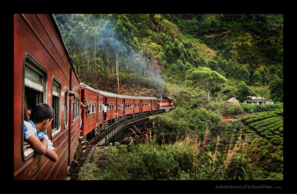 Sri Lankan Train Ride Through the tea fields in Hill Country near Ella