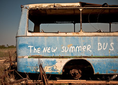 summer bus (ssj_george) Tags: old blue summer bus abandoned lens lumix junk rust raw grafiti rusty cyprus panasonic fields vehicle pancake 20mm left destroyed wrecked dmc larnaca larnaka f17 gf1   georgestavrinos   ssjgeorge  dromolaxia dromoloaksia