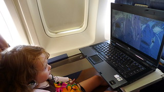 Julie Watching Ponyo on Plane