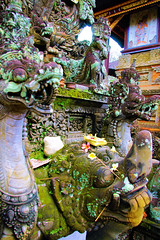 Temple Carving Close Up (High Sat) (cwgoodroe) Tags: light summer sky bali detail statue temple buddha pray limestone hindu pura deity ubud diety batubulan
