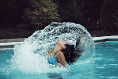 Let summer time freeze =D (April BrightBax) Tags: blue summer motion water pool girl swimming 50mm freeze shutter d3000 freeemotion
