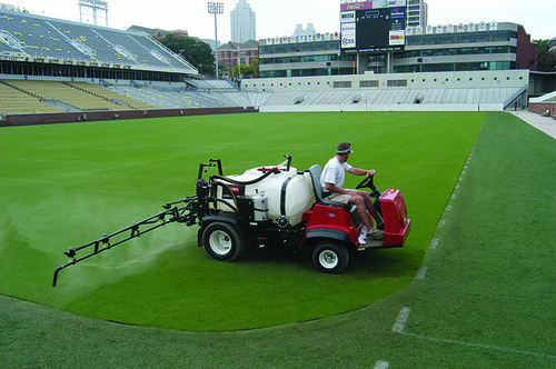 TifSport gets tender loving care at Georgia Tech's Bobby Dodd Stadium in Atlanta, Ga.