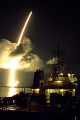 Liftoff of a Titan IVB/Centaur carrying the Cassini orbiter and its attached Huygens probe