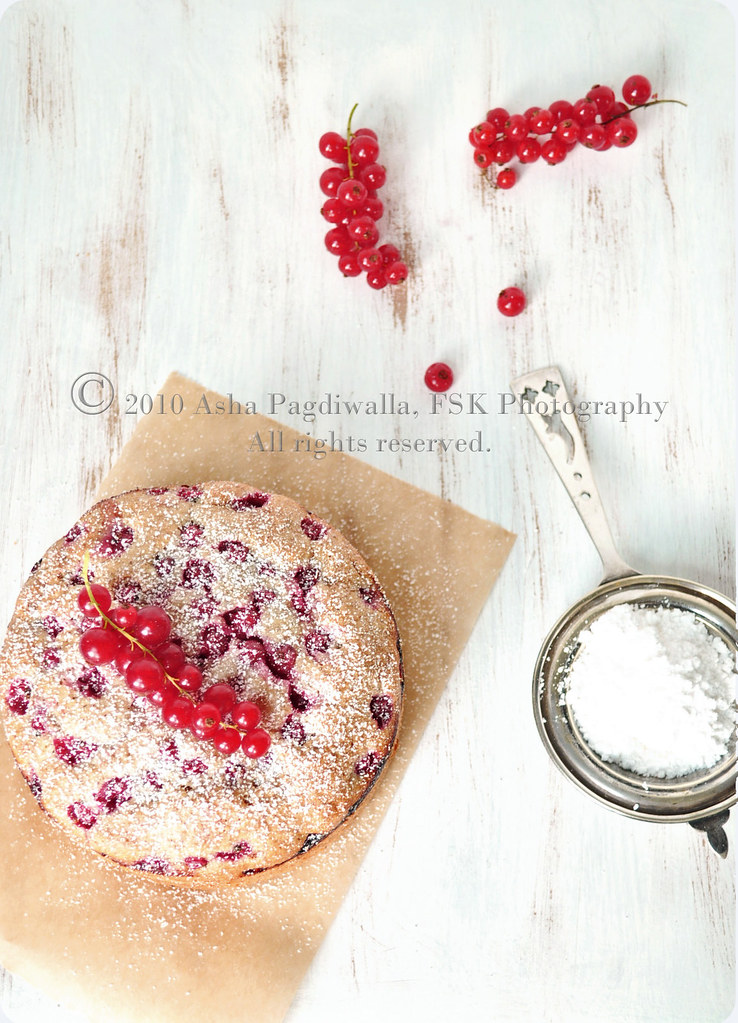 Red Currant Tea Cake - sprinkling powdered sugar