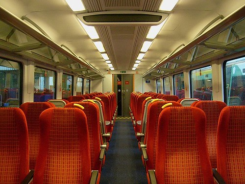British charter train - Interior of a standard (2nd) class carriage