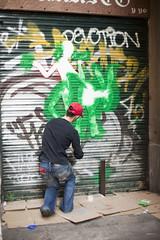 Tu y yo (Miles Cave) Tags: barcelona street door red verde green 50mm graffiti calle rojo puerta candid garage 14 spray cap gorra robado espray