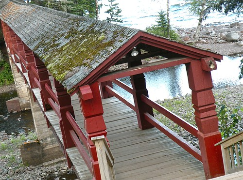 hand-carved bridge at Lutsen, MN