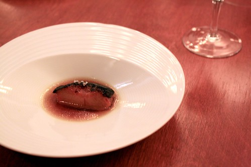 Town House, Chilhowie, VA, July 2010 - A Minimal Preparation with Peach, Roasted in Beef Fat and Chanterelle Bouillon