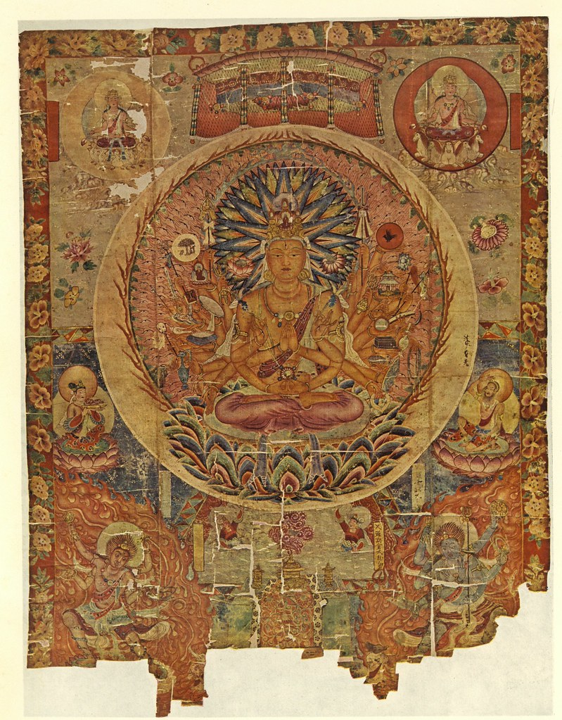 Silk Painting (Ch. xxviii 006) Representing Thousand-Armed Avalokitesvara (Kuan-Yin) with Attendant Divinities, from 'Thousand Buddhas', Tun-Huang.