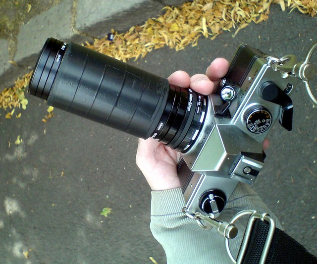 Praktica MTL5B with homemade  Petzval-style lens