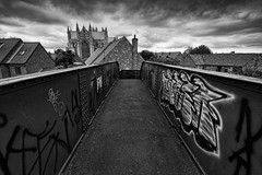 wrong side of the tracks bw (Chris Tait) Tags: bridge graffiti yorkshire east riding minster beverley