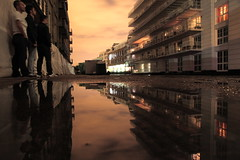 fugitives (maybemaq) Tags: uk longexposure friends england sky reflection building london water crimson night river canal colours camden symmetry regentscanal midnight walls reflexions camdentown waterreflection camdenlock drmike mangenta maybemaq