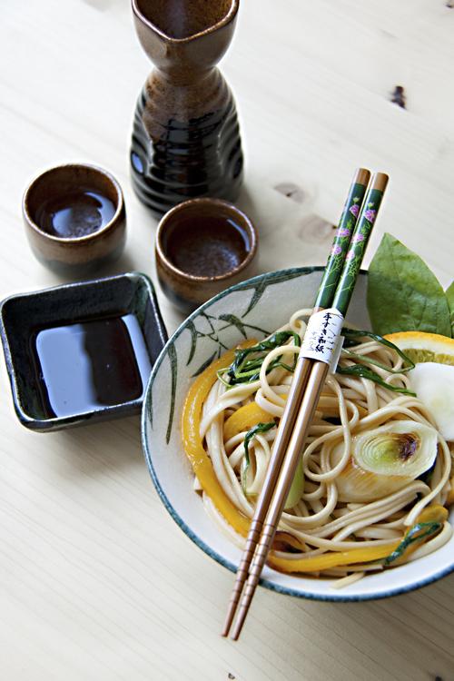 Udon con Radicchio Verde al profumo d'Arancia