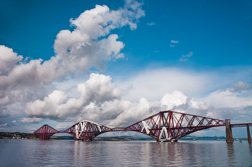 Forth Bridge and fluffy clouds - Explored