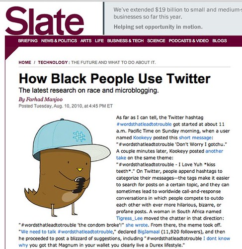 How black people use Twitter. - By Farhad Manjoo - Slate Magazine