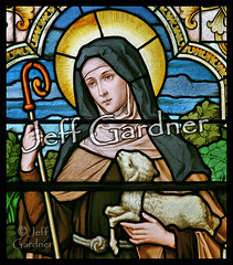 St. Colette closeup (*Jeff*) Tags: church window wisconsin catholic stainedglass staff lamb lacrosse convent colette franciscan poorclare