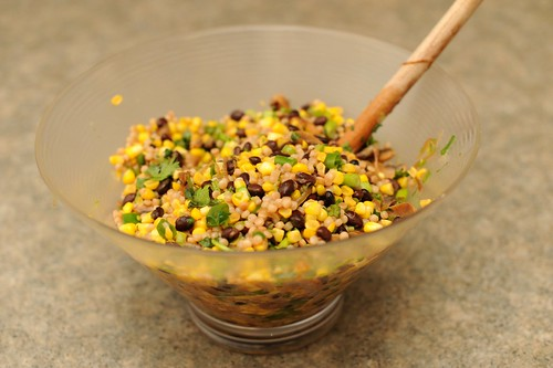 couscous salad with corn and mushrooms