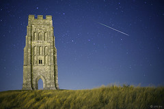 Somerset:  Meteor at Midnight, Glastonbury Tor. (Mike-DT6) Tags: nightphotography stars glastonbury somerset astrophotography meteor glastonburytor meteorshower perseid earthandspace competition:astrophoto=2011