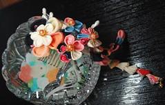 Candy Sea.Chirimen Kanzashi. (Bright Wish Kanzashi) Tags: pink blue black flower coral hair japanese handmade cream technique kanzashi tsumamikanzashi ornatehairornament