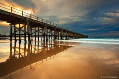 Coffs Harbour Jetty (-yury-) Tags: ocean sea cloud seascape beach water canon reflections landscape coast pier sand surf harbour jetty dramatic w