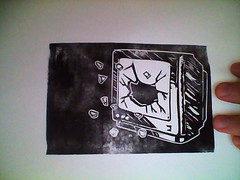 """USE YOUR HEAD"" part 2 (mr GREN) Tags: television ink diy tv linocut linoprint useyourhead"