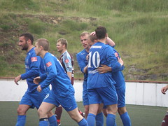 Happy FC Suduroy Players after the 2-2 Goal - The Match Result was 3-3 (Eileen Sand) Tags: people man island islands football europa europe photos 33 soccer skandinavien august match scandinavia faroeislands myndir footballplayers fodbold faroe billeder 2010 footballplayer maur faroes soccerplayers faroese suuroy ftbltur suder fodboldspiller vgur froyskur suduroy vgseii august2010 mortanrhrg frsk vagseidi eileensand vesturieiinum fcsuuroy vodafonedeildin palliaugustinussen ftbltsleikari krilgab mamukatoronjadze jnkrosslpoulsen abargir kasperschultz ftbltssplari vodafonedeildin2010myndir