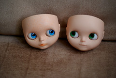 Where's our hair? (Bruna Lacrout ) Tags: blue green lana bigeyes doll alice blythe custom careca poupe rbl sardas urbancowgirl ucg takaratomy primadolly winsomewillow pdww