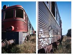 (Señorita A.) Tags: door sky color film broken window cemetery grass train 35mm graffiti nikon rust diptych kodak decay slide abandon end kodachrome f80 k14 entroncamento canonscan8800f portuguesephotowalkers ptpwphotowalk24