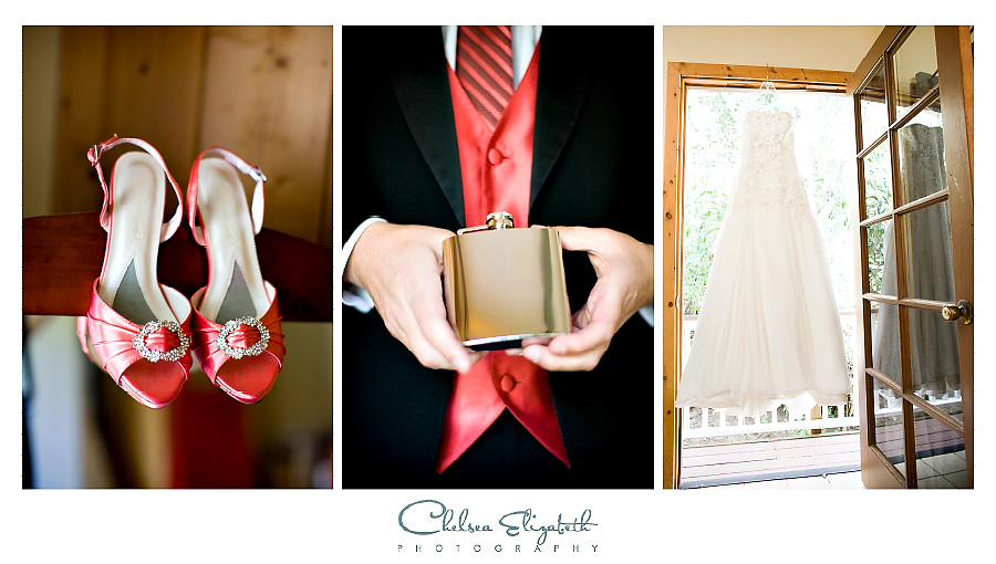 Tangerine wedding details brides shoes, grooms vest and flask