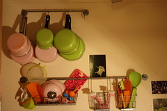 kitchen kolour (yorkshirepuddin) Tags: pink orange green home utensils kitchen mess clutter multicolour pans
