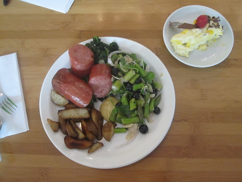 Kielbasa sausage, potatoes, asparagus salad, mango pie from the bistro - $6