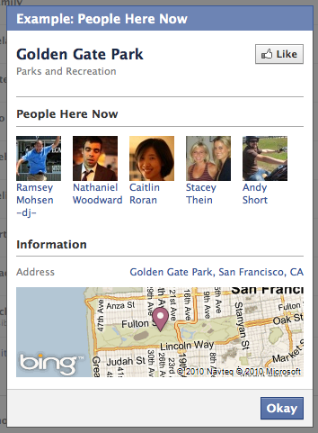 "Example of what you see when you check-in on Facebook Places, ""People Here Now""."