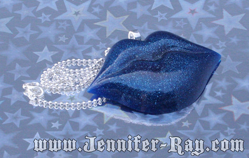 Deep Blue Sea Kiss - Resin Lips Necklace