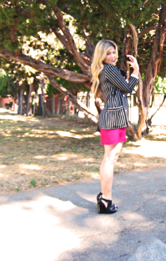 striped blazer+pink dress+black studded wedges, shift dress