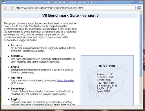 Score de v8 avec Webkit