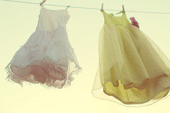 on the line - 1 (RebeccaVC1) Tags: light flower vintage dress sweet slip clothesline petticoat clothespin ruffle florabella