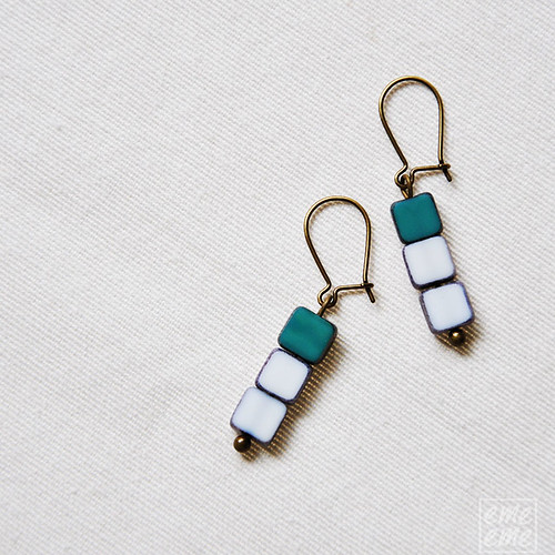 Czech glass square beads earrings