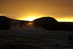 Sunset over the Yellowstone's fumaroles