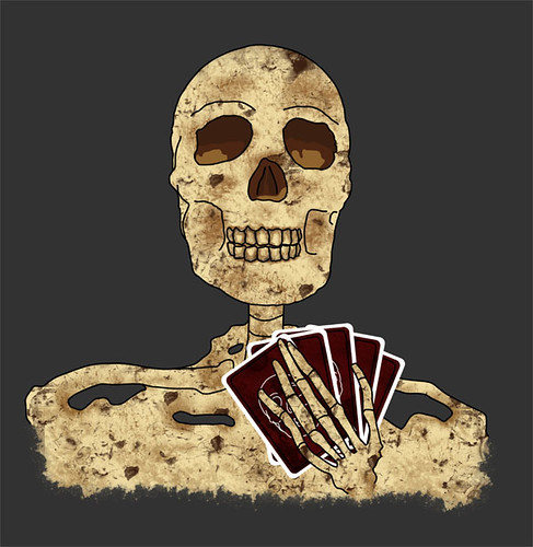Skeleton Poker Face Art
