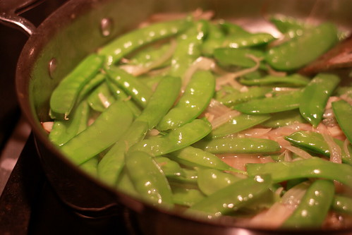 had home-grown snow peas for dinner!
