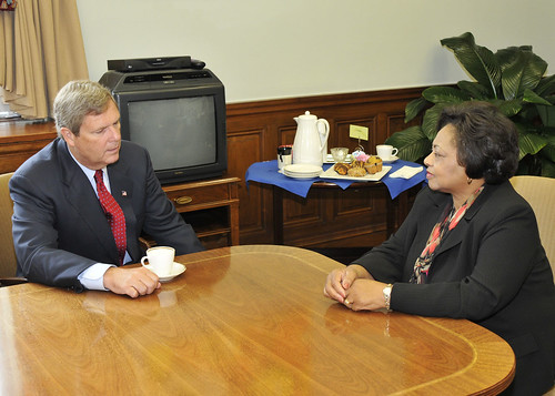 Agriculture Secretary Tom Vilsack meets with Shirley Sherrod in his office at the U.S. Department of Agriculture in Washington, DC, on Tuesday, August 24, 2010. USDA Photo by Bob Nichols
