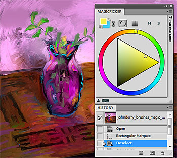 Still life in Purple made with MagicPicker Photoshop color wheel and John Derry's Artist's brushes