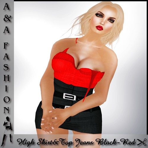 A&A Fashion High Skirt&Top Jeans Black-red