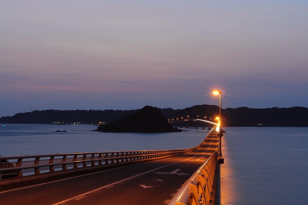 Tsunoshima Bridge twilight